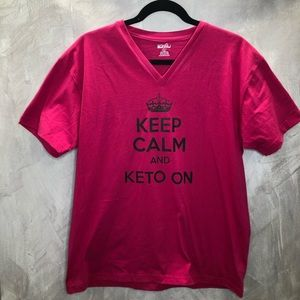 Keep Calm And Keto On Pink Tshirt